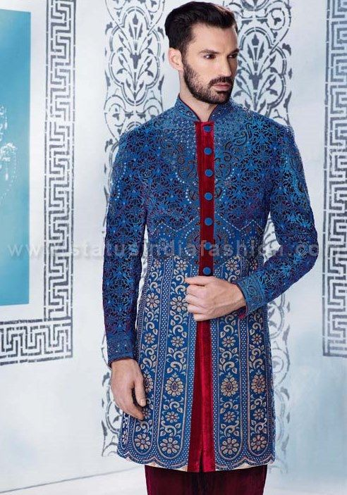 velvet laser cut sherwani for men, sherwani indowestern uk, blue sherwani, Asian clothes, wedding sherwani, Indian sherwani, sherwani indo western, sherwani, mens wedding sherwani. www.statusindiafashion.com