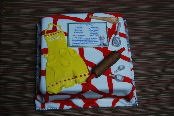 kitchen bridal shower cakes | Fondant accents on this kitchen themed bridal shower cake