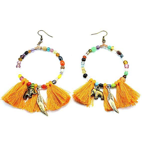 Hoop earrings Boho earrings Bohemian jewelry Beaded