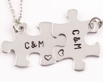 Personalized Anniversary Date Puzzle Piece Necklaces  Set of