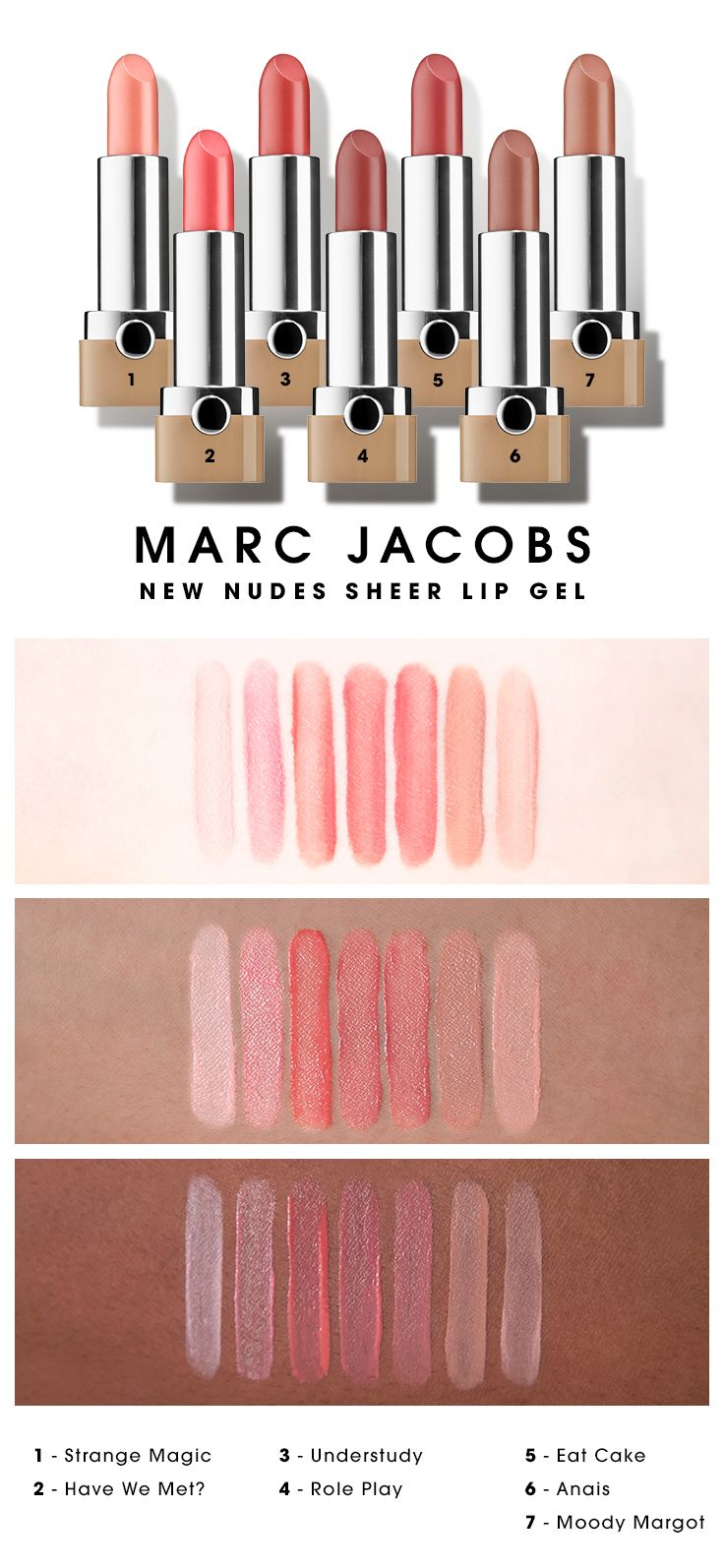 We swatched the shade range of Marc Jacobs Beauty  New Nudes Sheer Lip Gels on various skin tones. Which caught your eye? #Sephora #swatches #lipstick