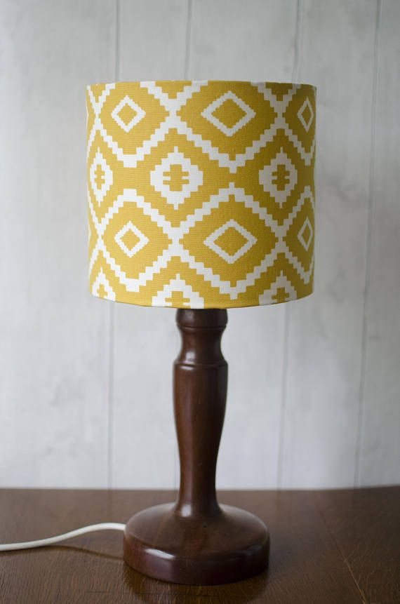 Aztec lampshade Saffron yellow aztec nursery drum