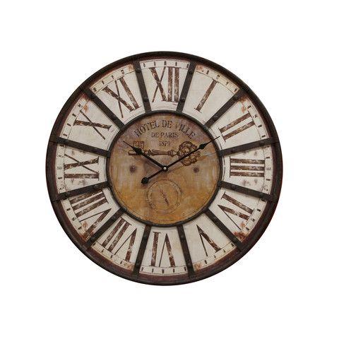 Astrid Reloj de Pared de Acero y MDF - Blanco Desgastado
