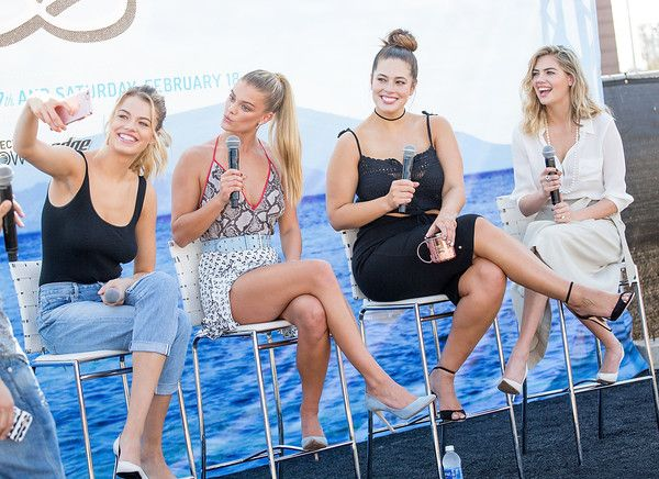 Kate Upton Photos Photos - (L-R) SI Swimsuit models Hailey Clauson, Nina Agdal, Ashley Graham, and Kate Upton speak during a panel at the VIBES by Sports Illustrated Swimsuit 2017 launch festival on February 18, 2017 in Houston, Texas. - VIBES by Sports Illustrated Swimsuit 2017 Launch Festival - Day 2