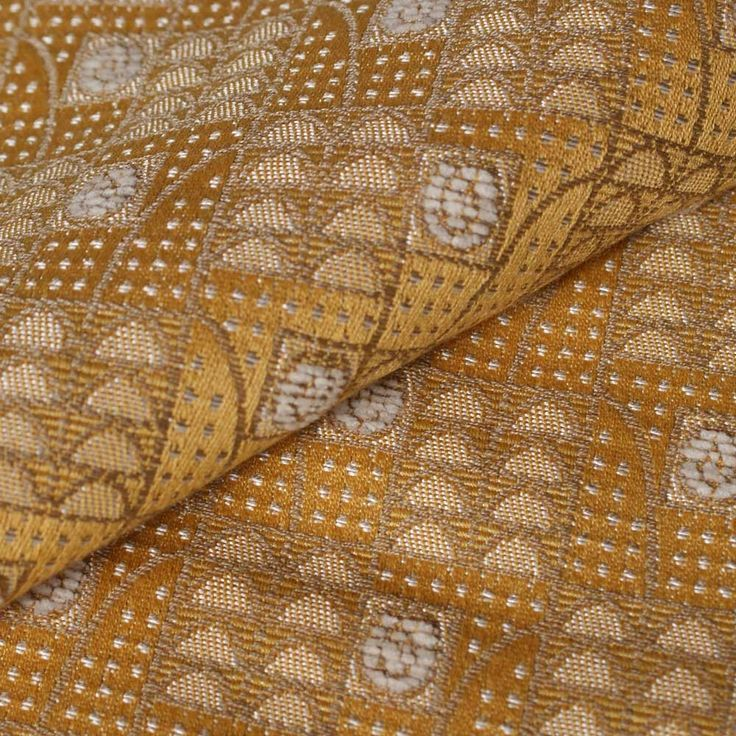Art Deco Art Nouveau Yellow Flat-Weave Curtain and Upholstery Fabric | Backhausen Art Deco Rosenbogen (Arched Roses) Yellow from Loome Fabrics