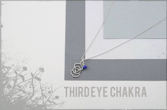 Sterling Silver Third Eye chakra necklace with lapis stone. Available in a range of necklace lengths.