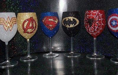 Glitter glass Superhero wine glass 30cl individual. Superman.batman.hulk.marvel. | eBay