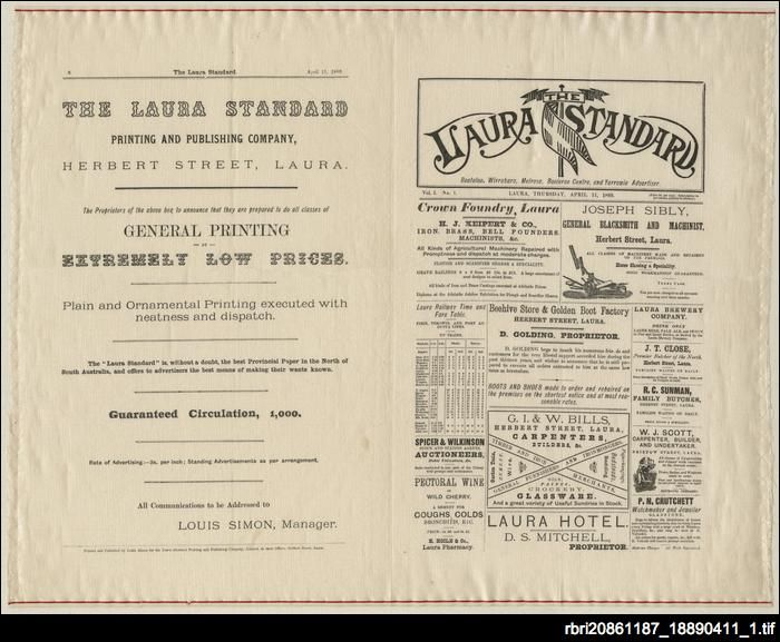The Laura Standard was established in 1889 by partners Israel Taylor, Henry Weston (editor) and Louis Simon. Copies of the inaugural issue were printed on silk as commemorative copies of the town's first newspaper. When a member of the Rocky River Historic and Art Society of Laura approached the Library in 2010 with copies of a newspaper printed on silk, arrangements were made to have these rare items conserved. In return, the Society donated one copy to the Library.
