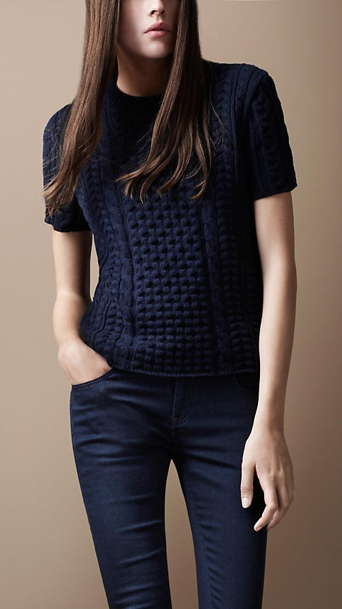 Burberry: Short Sleeve Cable Sweater- knitspiration