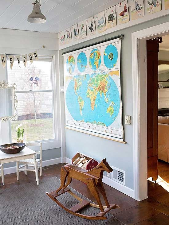 It's never too cool to bring classroom style into your home. Whether it's industrial-style fixtures and school lockers or vintage maps and globes, schoolhouse home decor brings back the nostalgia of younger years.