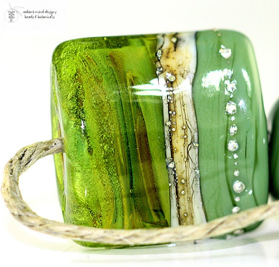 new glass lampwork beads olive u nugget handmade for by radiantmind