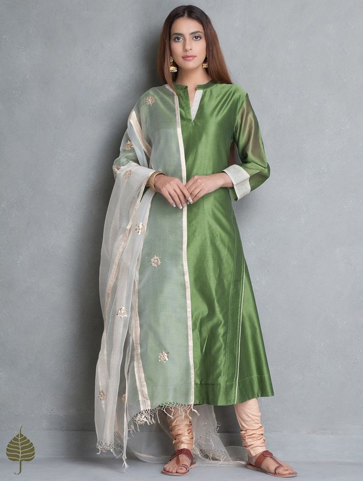 Buy Green Ivory Chanderi Kurta by Jaypore Cotton Women Kurtas Online at Jaypore.com