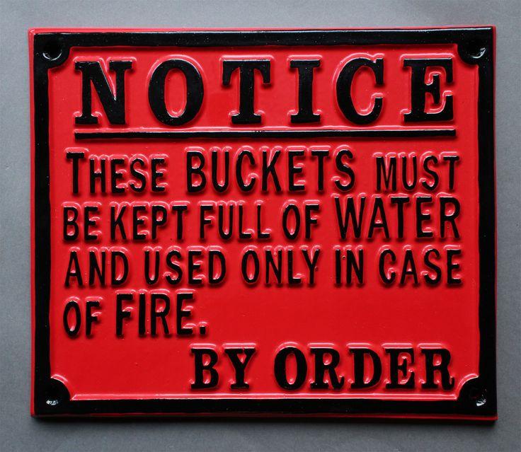 Vintage Railway Fire Bucket Sign