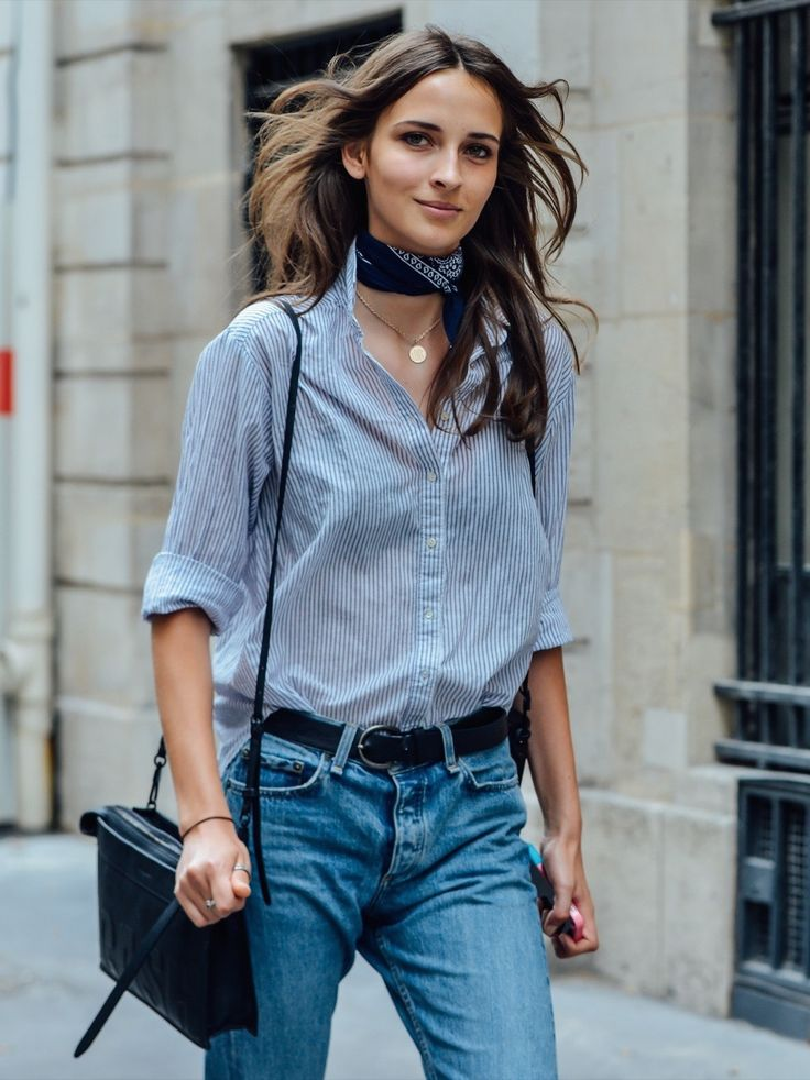 Striped button down with jeans, a neck kerchief, and a simple necklace.