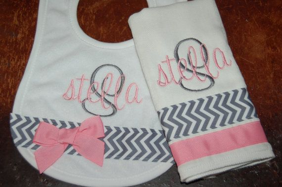 Personalized Bib and Burp cloth set BOY GIRL  Lots of by Magabys, $20.00