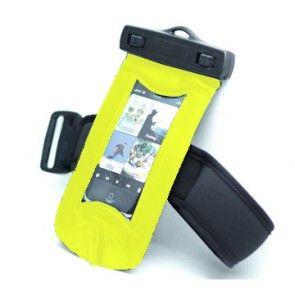 Vandtæt Armbånd til mobiltelefon med vandtætte høretelefoner (Gul)