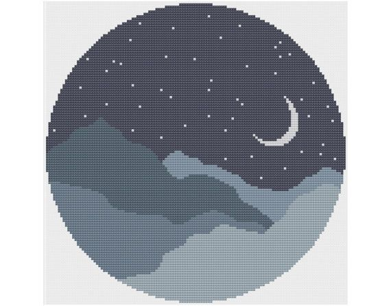 Moonlit Mountains - Counted Cross Stitch Pattern by HornswoggleStore, $5.00 (pretty, easy, simple, peaceful, landscape, round, mountain, round, nighttime)