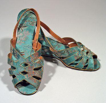 1940s Vintage Green & Gold Brocade Wedgie Sandals Sz 9