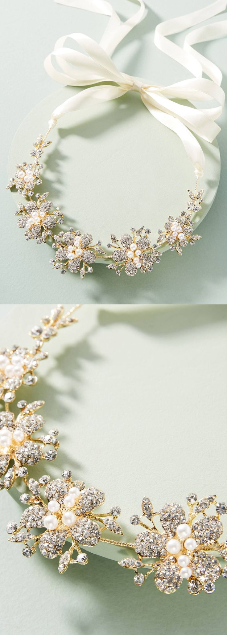 Pearled Bridal Headband $48.00. Bridal hair vine - Sugary sweet floral bridal wedding headpiece. A sweet and sparkly vine on White satin ribbon, with darling flowers. This headband is classic and elegant and can be worn in the crown position, or tied angled as would an alice band. Wedding Bridal Hair Hairvine inspiration. #bridal #springwedding #headband #bridalheadband #bridalvine #hairvine #bridalaccessories #weddingideas #bridalhair #weddinghair #affiliatelink #millinery #winterwedding