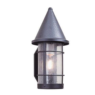 "Arroyo Craftsman Valencia 1-Light Outdoor Wall Lantern Size: 15.63"" H x 7.25"" W, Finish: Satin Black, Shade Type: White Opalescent"