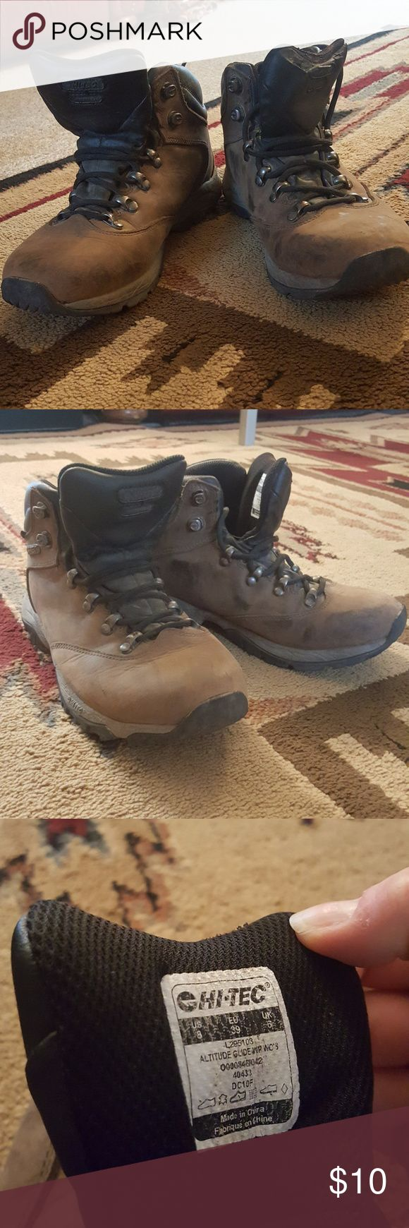 Hi-Tec Hiking Boots Hi-Tec brand hiking boots, brown in color. In good condition, soles look brand new! Slight tear on the tongue of the left boot. Size 8, but fits size 8.5. Hi-Tec Shoes