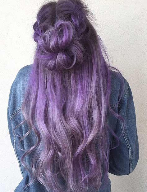 Long Lavender Hair Color Idea