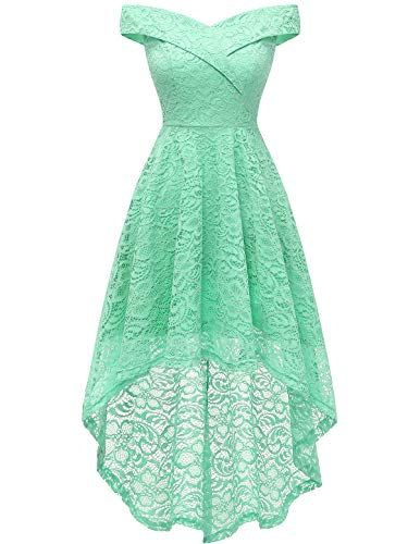 Homrain Women's Off Shoulder Hi-Lo Floral Lace Dress Vintage Elegant Cocktai…