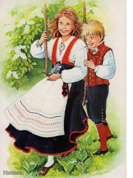 Folk costume card. The girl is wearing Pyhäjärvi's dress, the boy Säkylä's.
