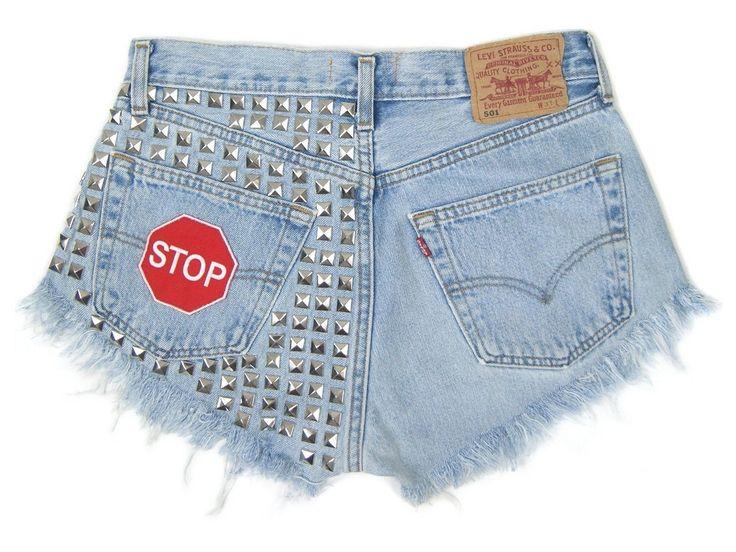 STOP! Patched denim shorts vintage Levis Studded jeans regular cut off festivalstyle rock L size 31 waist by DSMjeans on Etsy
