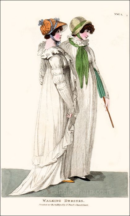 "Fashions of London and Paris, October 1801. ""Walking Dresses"""