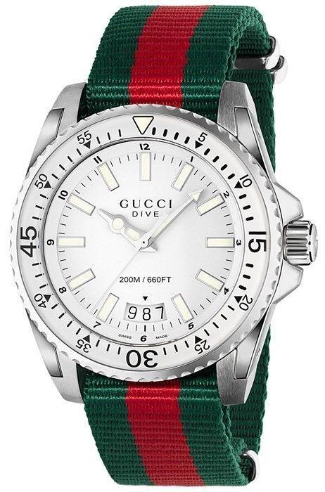 b65a12fb53b GUCCI Dive Silver Dial Red and Green Nylon Men s Watch YA136207 ...
