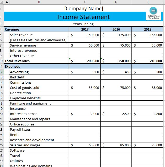 Income Statement Template Statement template - sample income statement example