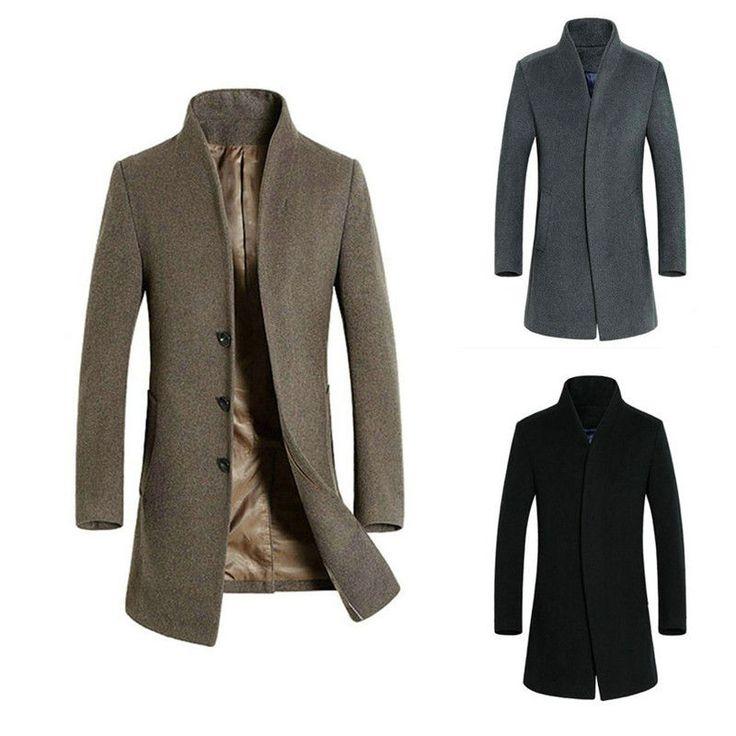 Mens Wool Trench Coat Jacket Mid Long Winter Warm Jacket Peacoat Overcoat #Unbrand #OtherCoats
