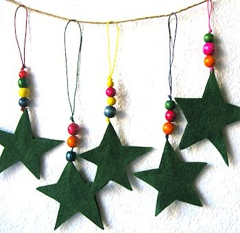 felt star and bead ornaments This would be cute using salt clay instead of felt for stars