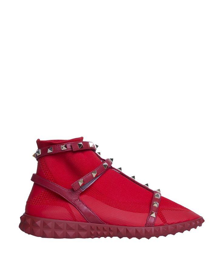VALENTINO GARAVANI | Valentino Garavani Valentino Garavani Stretch Knit Rockstud High-top Sneakers #Shoes #Sneakers #VALENTINO GARAVANI