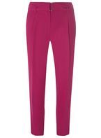 Womens Fuschia Belted Tapered Trousers- Pink