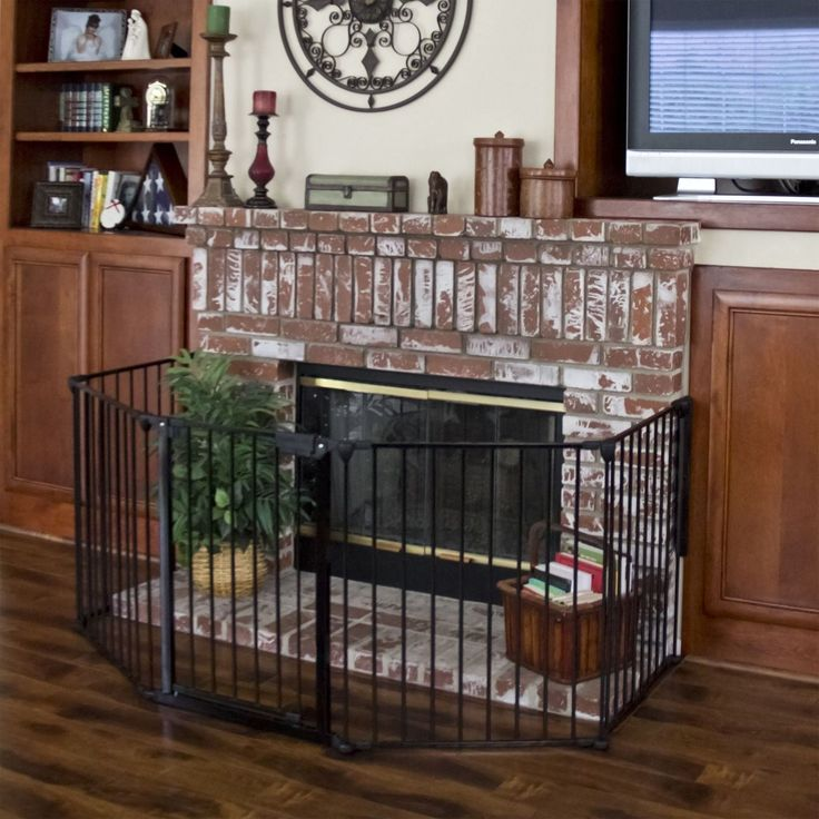 "Baby Safety Fence Hearth Gate Fire Gate Fireplace Pet Dog Cat Fence. Safety for use around fireplaces, grills, wood burning stoves, etc. All joints easily rotate and lock for secure attachment. Can be connected as a freestanding play area with optional extensions. Overall gate width: 117"". Overall gate height 30""."