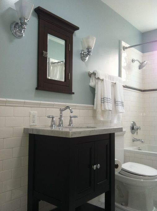 1000 ideas about white subway tile bathroom on pinterest for Dark blue bathroom tiles