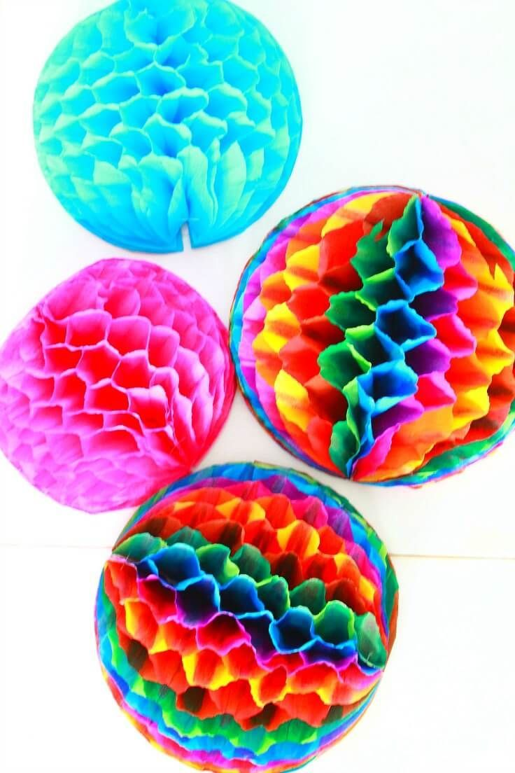how to make easy honeycomb pom poms