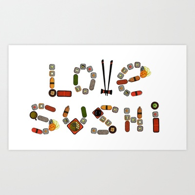 Love sushi Art Print by Galina Bakeeva - $13.52