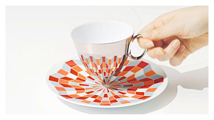 Stunning Palladium cups reflect saucer detail.