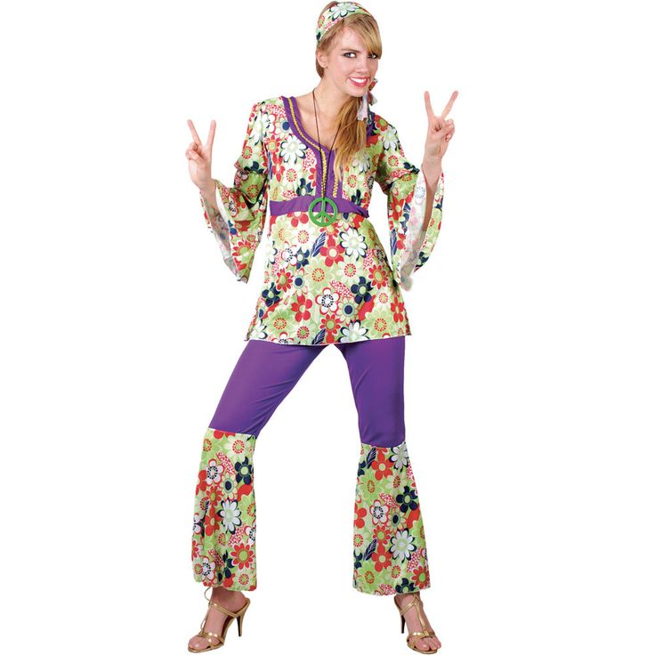 1960s Groovy Hippie Chick Ladies Fancy Dress Party Halloween Costume by Wicked #WickedCostumes #CompleteOutfit