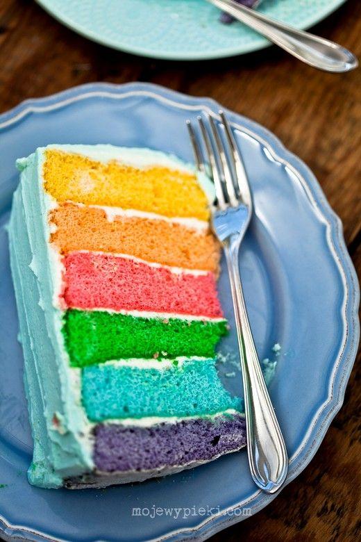 Tort tęczowy (na biszkopcie)