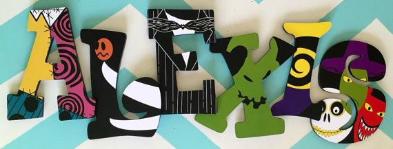 Custom Decorated Wooden Letters Nightmare by NiftyNancyDesigns