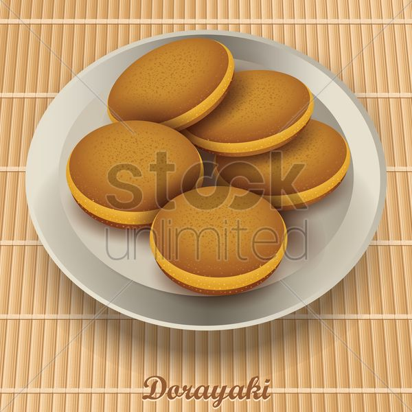dorayaki in plate Stock Vector