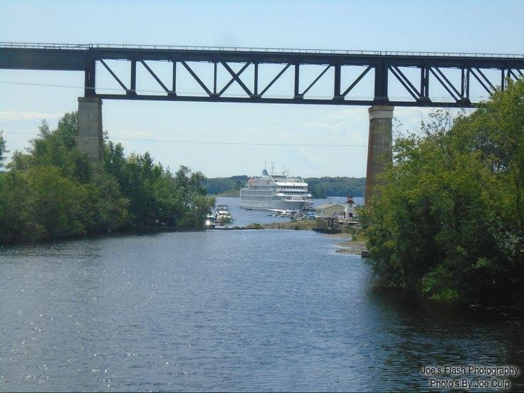 The Pearl Mist seen docked in the distance from the old Trainbridge over the Seguin River Parry Sound August 6, 2017