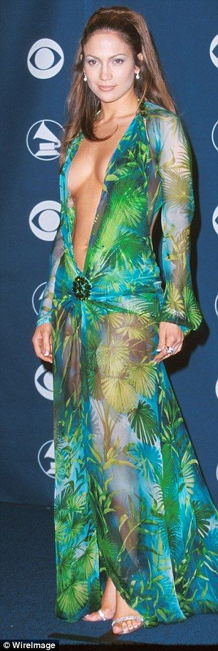 High-profile targets: Trey mimicked JLo in the famous green dress she wore at the 2000 Grammys