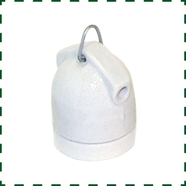 Porzellan Fassung E27, Porzellanfassung  zum Hängen 3 teilig (A089)