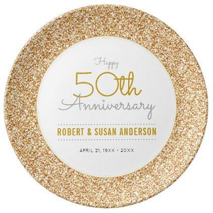 #party - #50th Wedding Anniversary Faux Gold Glitter Porcelain Plate