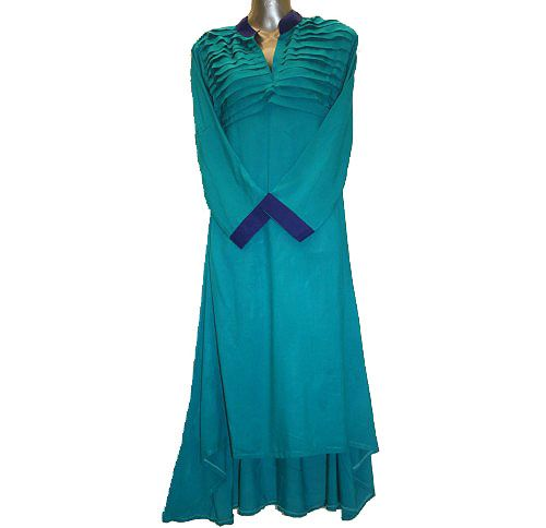 Sea Green, Broad A-line, high neck collar, pleated top front, cuffed sleeves  Product Code: OLFD-044  Price: Rs.900